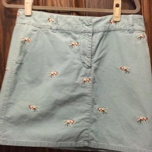 Vintage J Crew cord mini size 10 embroidered dogs